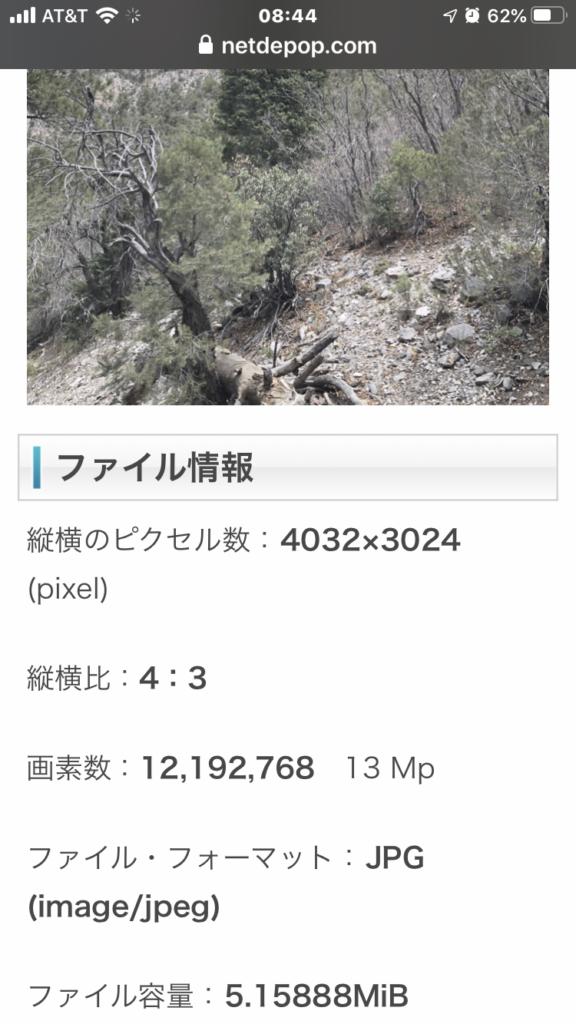 アップロードされた写真の解像度・画素数